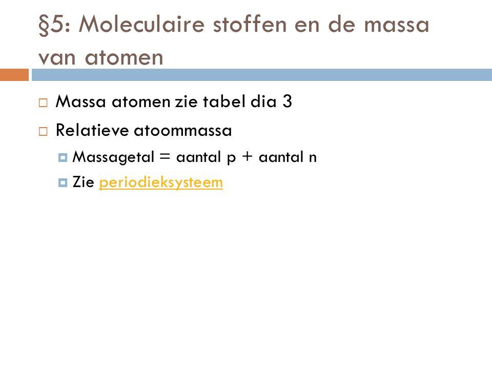 §5: Moleculaire stoffen en de massa van atomen