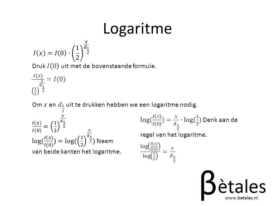Logaritme 𝐼 𝑥 =𝐼 0 ∙ 1 2 𝑥 𝑑 1 2. Druk 𝐼 0 uit met de bovenstaande formule. 𝐼 𝑥 1 2 𝑥 𝑑 1 2 =𝐼(0)