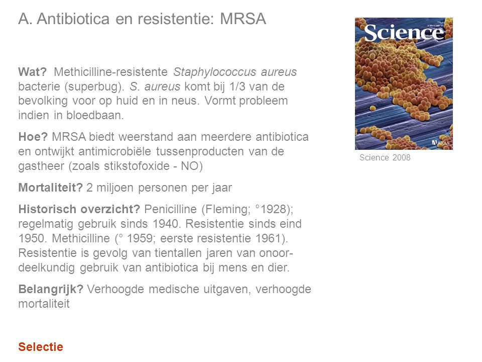 A. Antibiotica en resistentie: MRSA