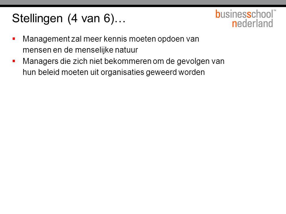 Stellingen (4 van 6)… Management zal meer kennis moeten opdoen van mensen en de menselijke natuur.