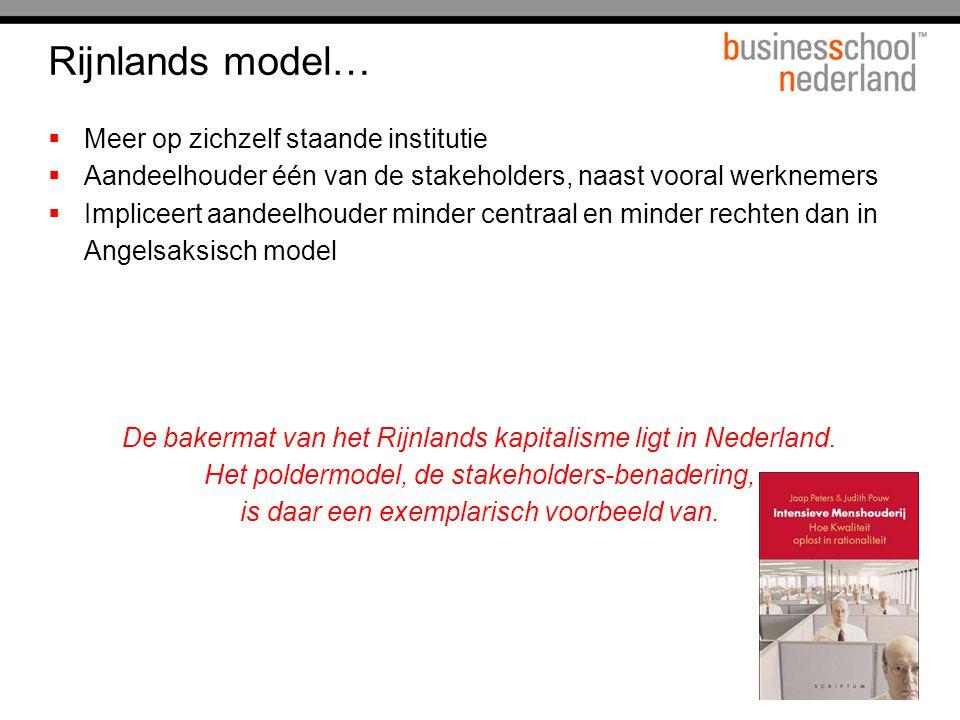 Rijnlands model… Meer op zichzelf staande institutie