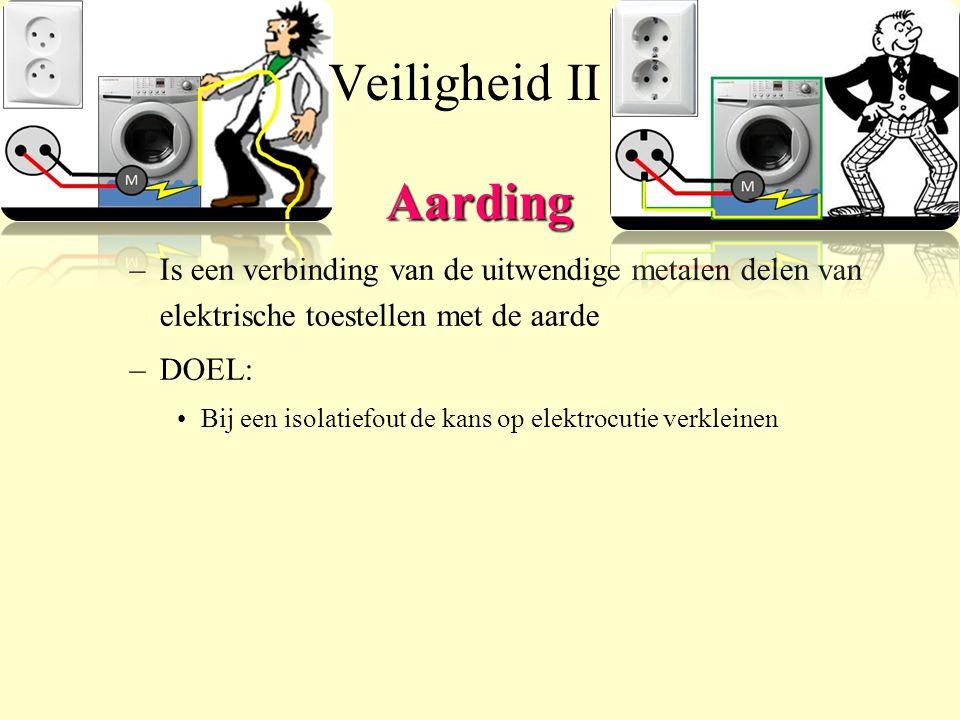 Veiligheid II Aarding. Is een verbinding van de uitwendige metalen delen van elektrische toestellen met de aarde.