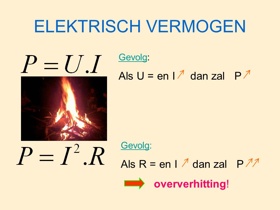 ELEKTRISCH VERMOGEN Als U = en I dan zal P Als R = en I dan zal P