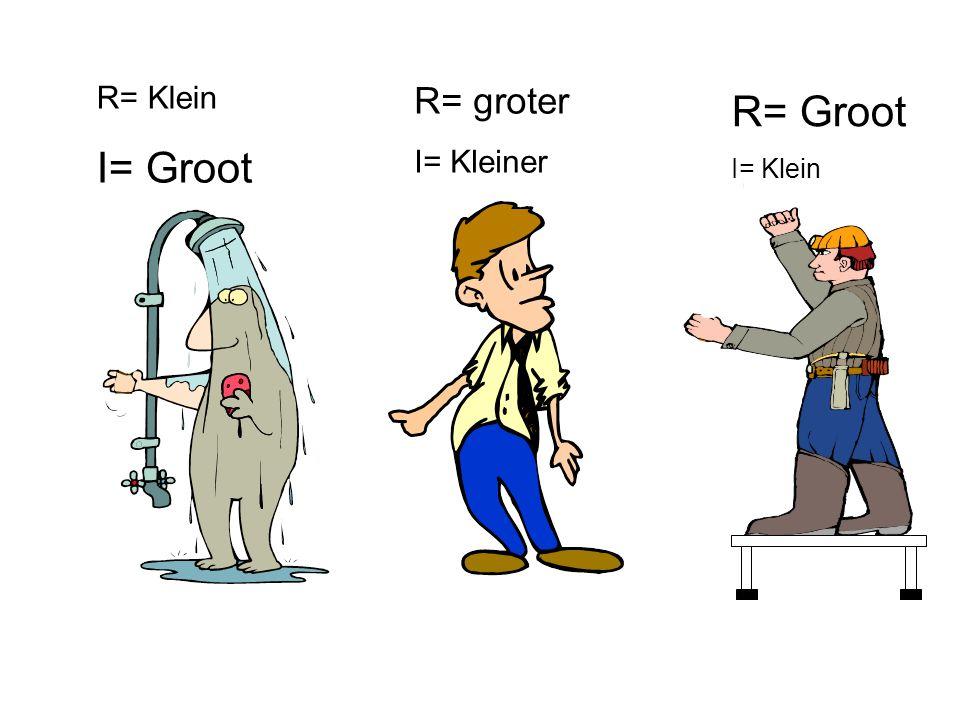 R= Klein I= Groot R= groter I= Kleiner R= Groot I= Klein