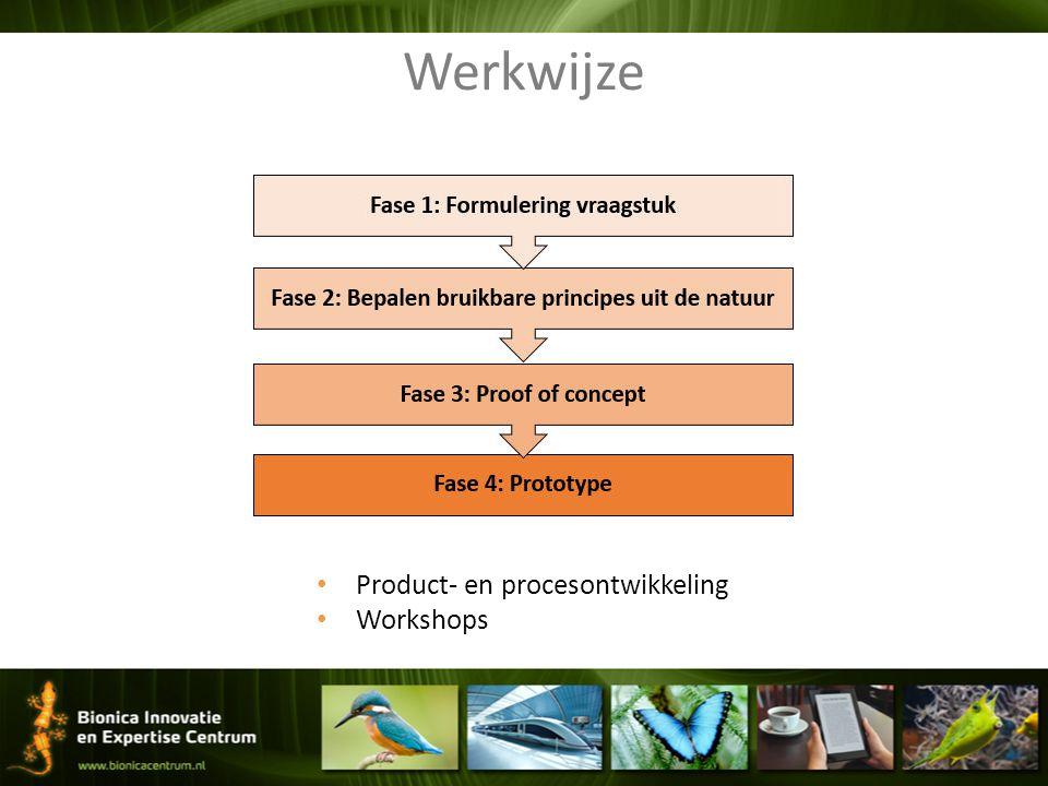 Werkwijze Product- en procesontwikkeling Workshops
