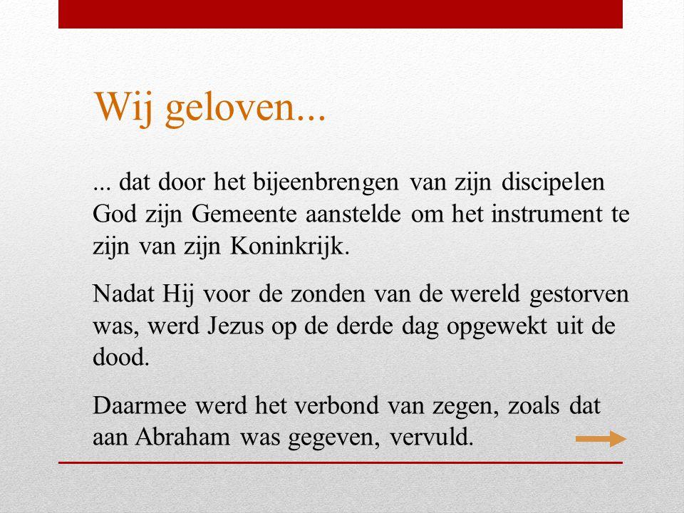 Wij geloven... ... dat door het bijeenbrengen van zijn discipelen God zijn Gemeente aanstelde om het instrument te zijn van zijn Koninkrijk.