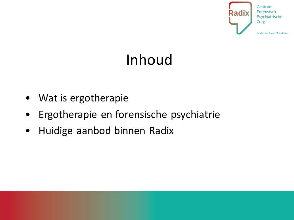 Inhoud Wat is ergotherapie Ergotherapie en forensische psychiatrie