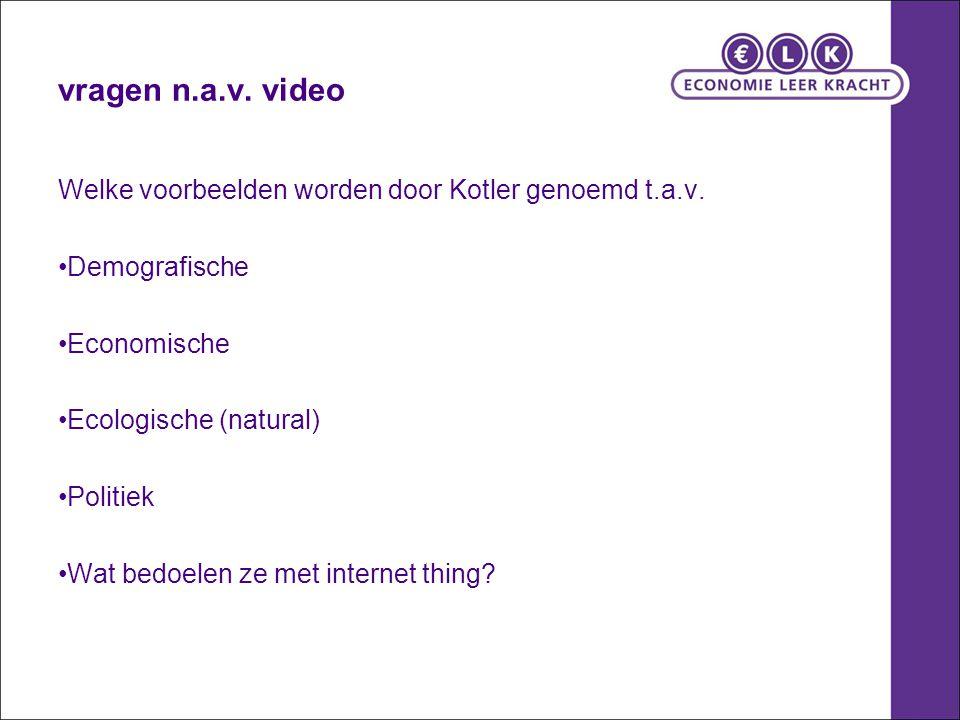 vragen n.a.v. video Welke voorbeelden worden door Kotler genoemd t.a.v. Demografische. Economische.