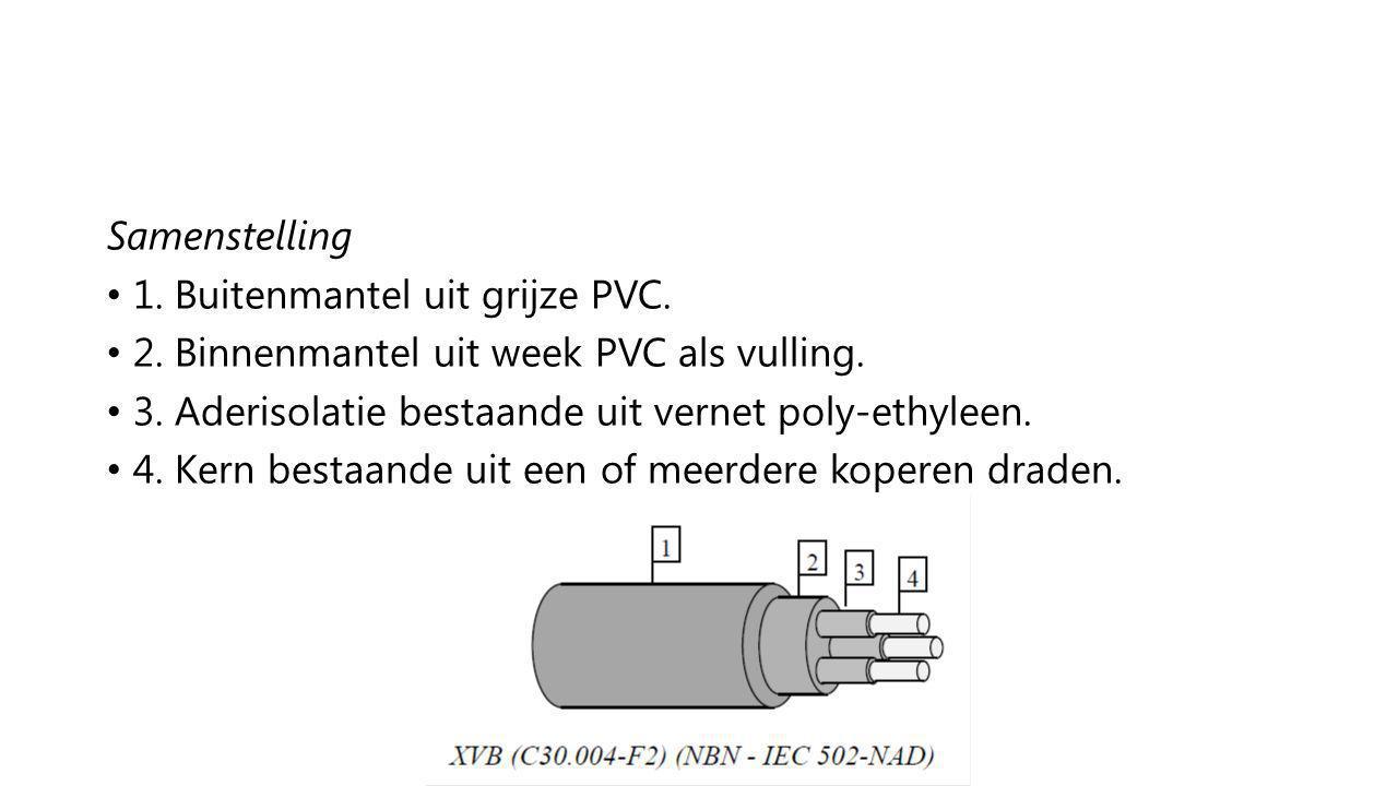 Samenstelling 1. Buitenmantel uit grijze PVC. 2. Binnenmantel uit week PVC als vulling. 3. Aderisolatie bestaande uit vernet poly-ethyleen.