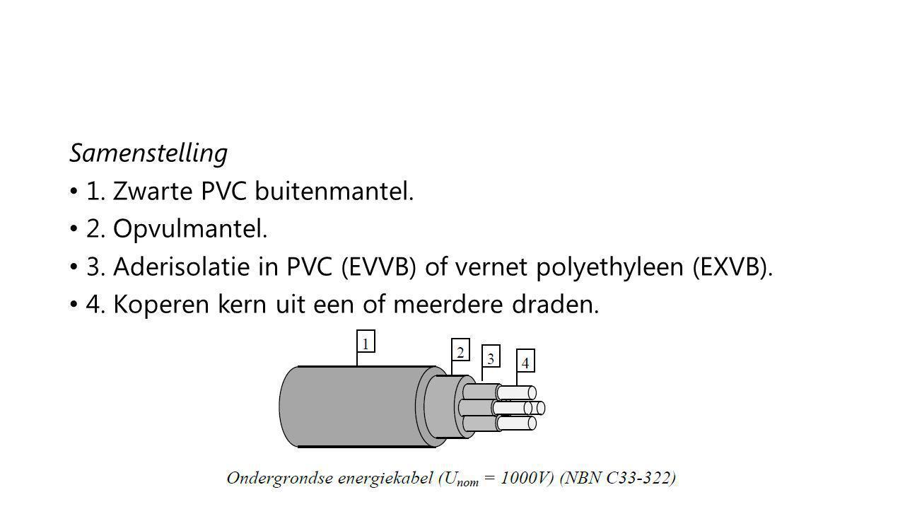 Samenstelling 1. Zwarte PVC buitenmantel. 2. Opvulmantel. 3. Aderisolatie in PVC (EVVB) of vernet polyethyleen (EXVB).