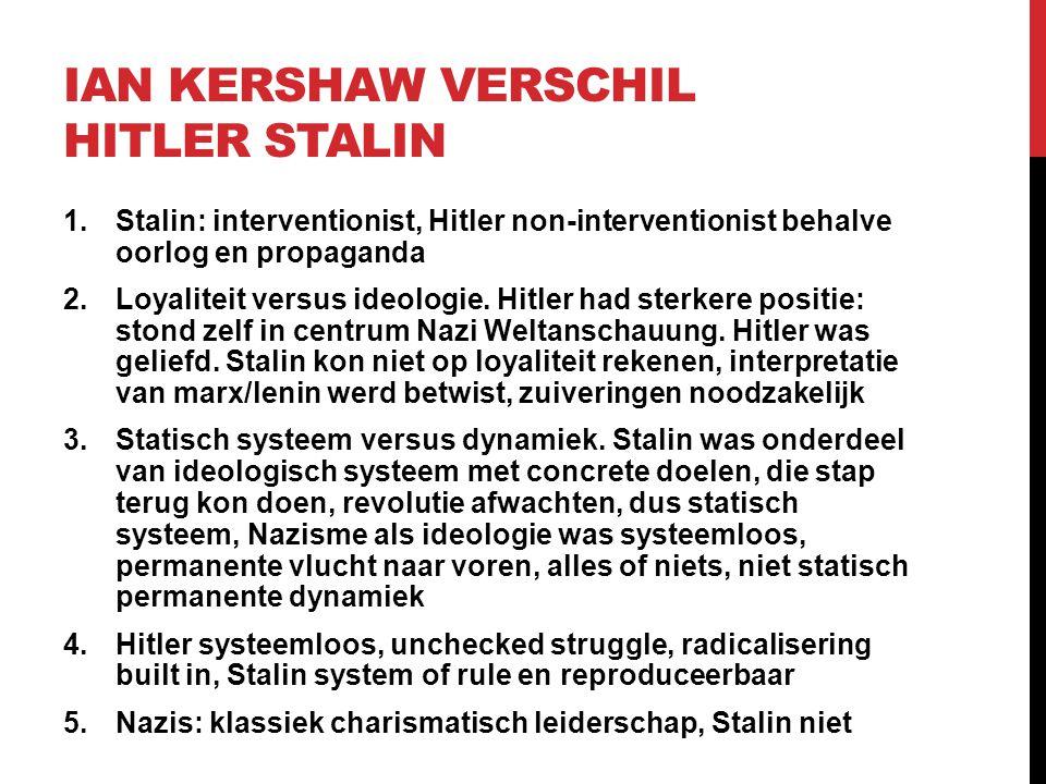 Ian Kershaw verschil Hitler Stalin