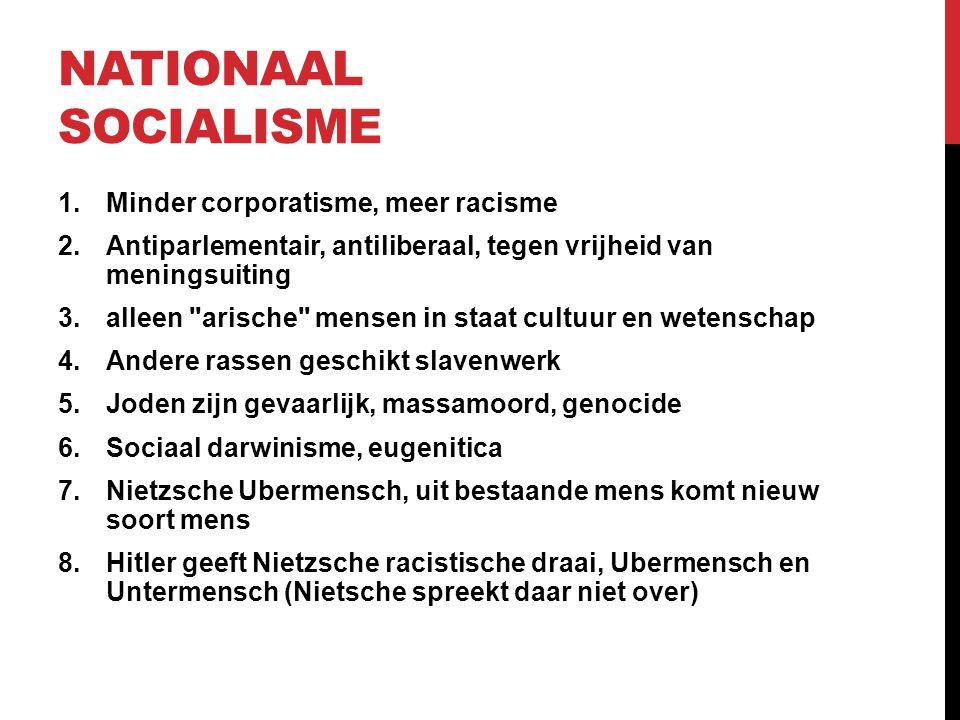 Nationaal socialisme Minder corporatisme, meer racisme