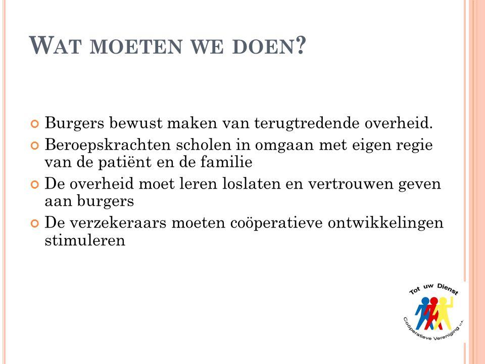Wat moeten we doen Burgers bewust maken van terugtredende overheid.