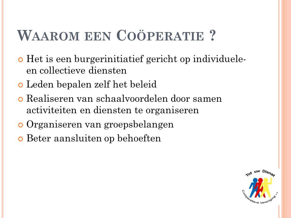 Waarom een Coöperatie Het is een burgerinitiatief gericht op individuele- en collectieve diensten.