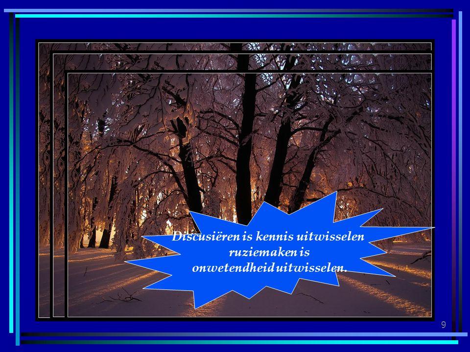 Discusiëren is kennis uitwisselen onwetendheid uitwisselen.