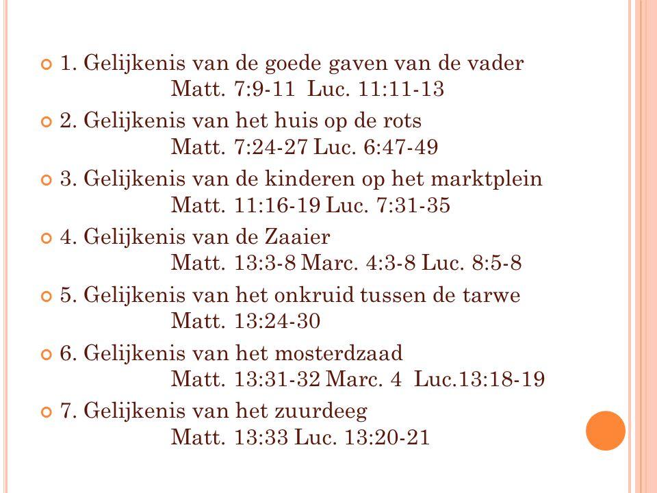 1. Gelijkenis van de goede gaven van de vader. Matt. 7:9-11 Luc