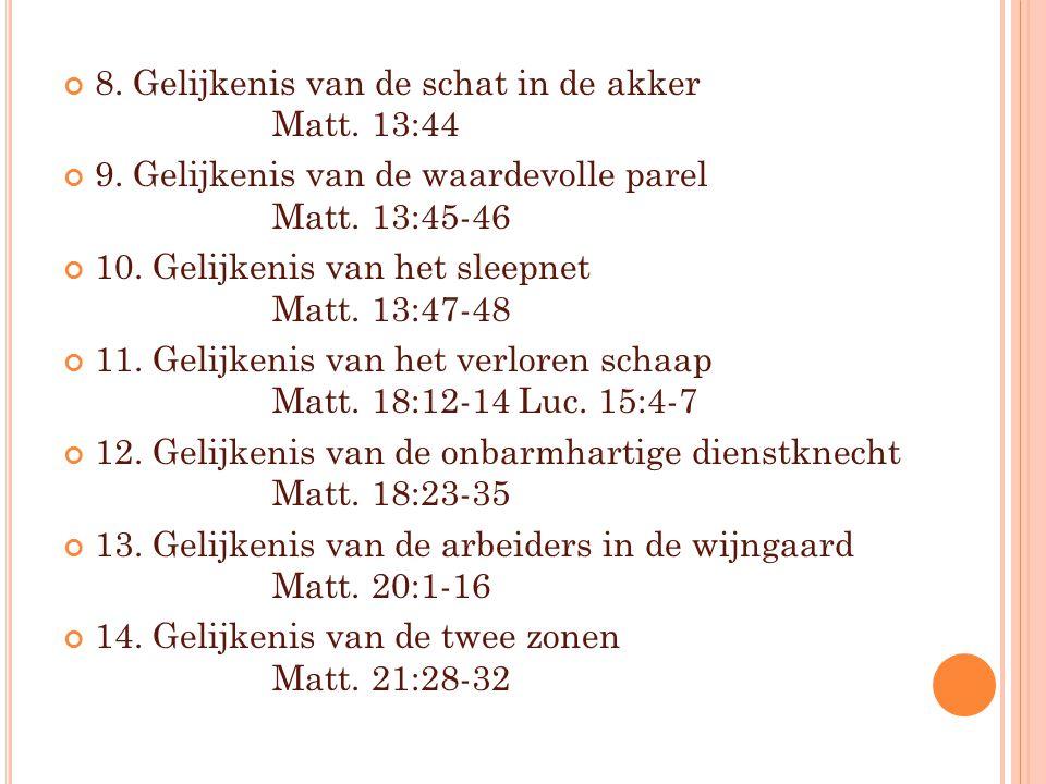 8. Gelijkenis van de schat in de akker Matt. 13:44