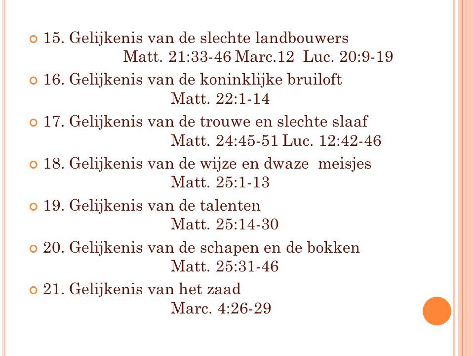 15. Gelijkenis van de slechte landbouwers. Matt. 21:33-46 Marc. 12 Luc