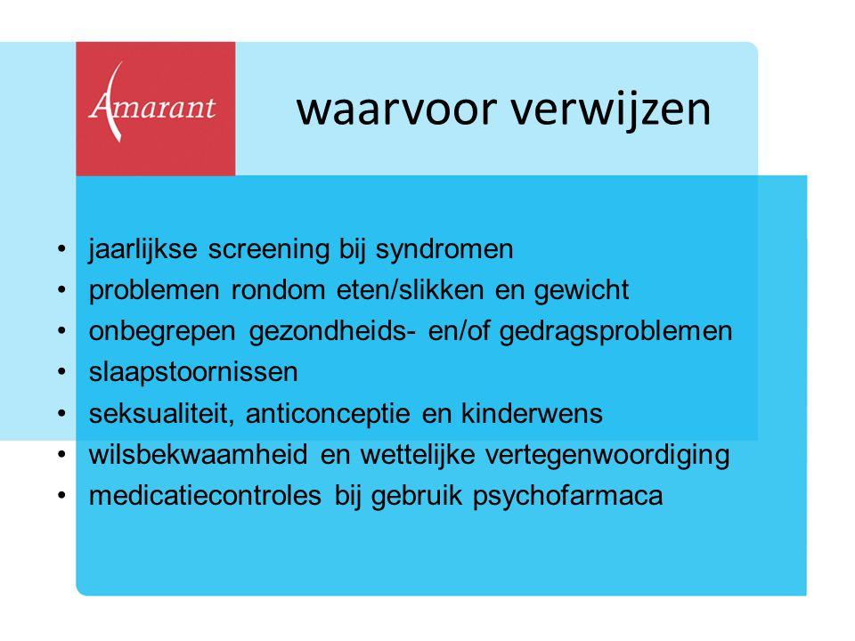 waarvoor verwijzen jaarlijkse screening bij syndromen