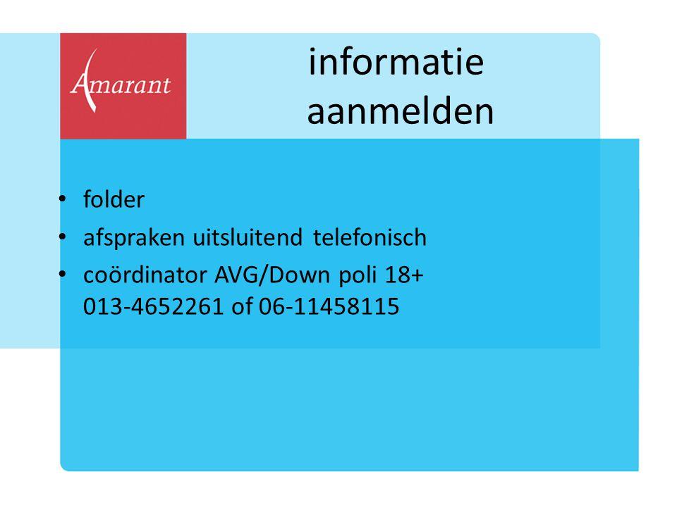 informatie aanmelden folder afspraken uitsluitend telefonisch