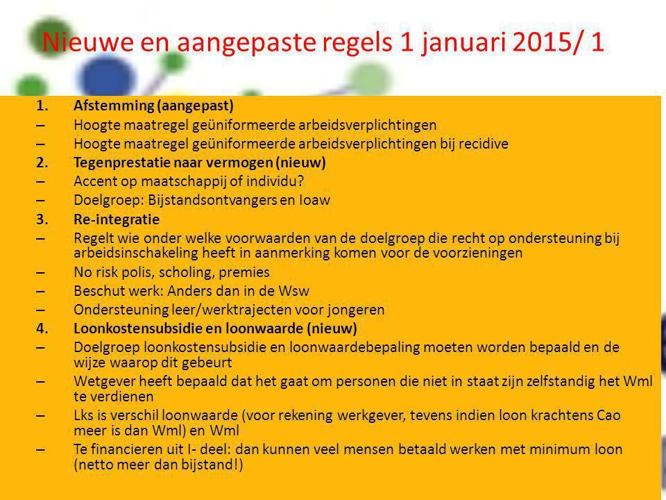 Nieuwe en aangepaste regels 1 januari 2015/ 1