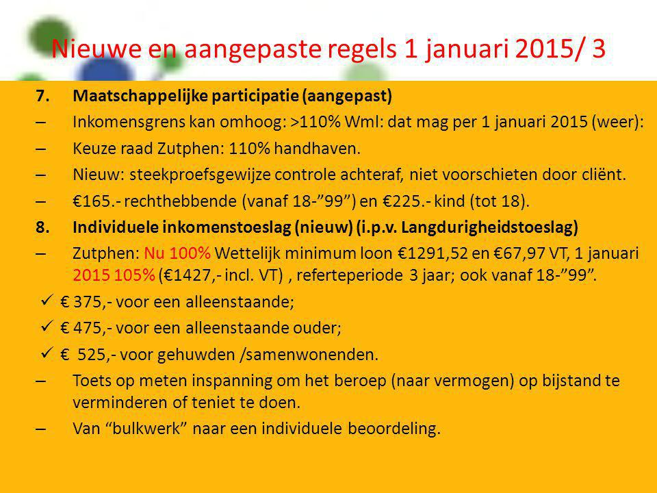 Nieuwe en aangepaste regels 1 januari 2015/ 3