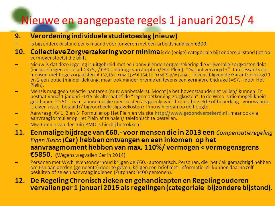 Nieuwe en aangepaste regels 1 januari 2015/ 4