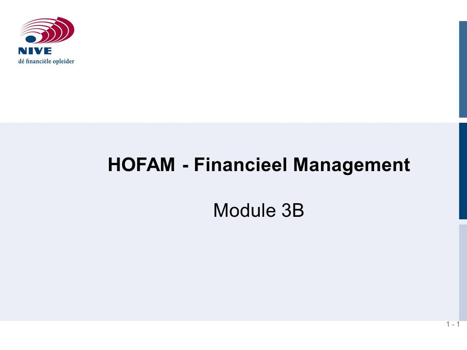 HOFAM - Financieel Management Module 3B