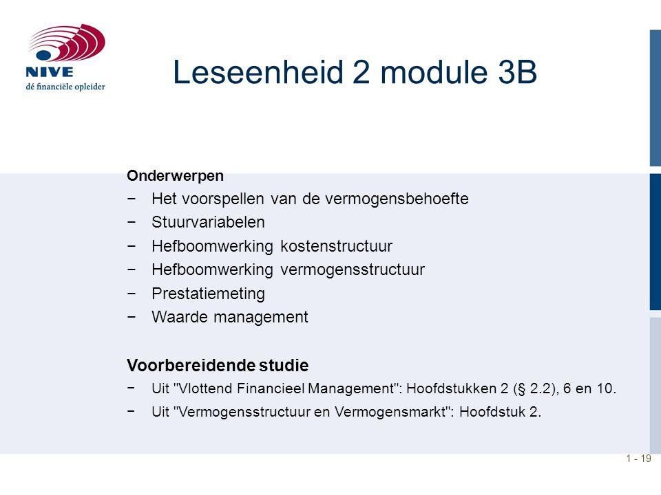 Leseenheid 2 module 3B Het voorspellen van de vermogensbehoefte