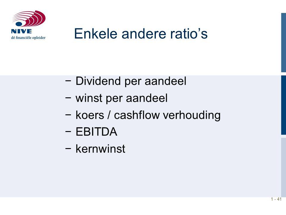 Enkele andere ratio's Dividend per aandeel winst per aandeel