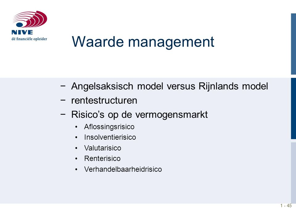 Waarde management Angelsaksisch model versus Rijnlands model