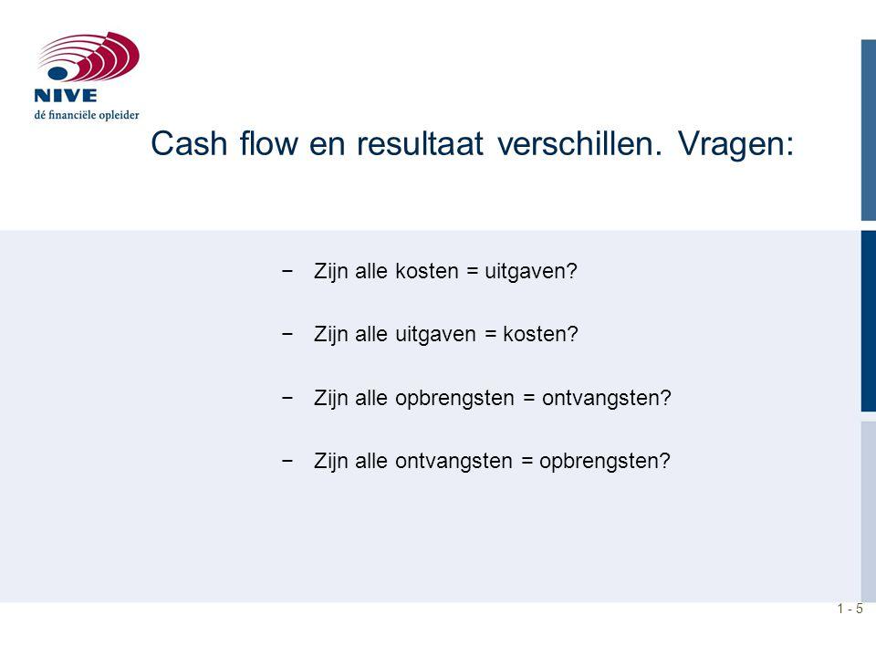Cash flow en resultaat verschillen. Vragen:
