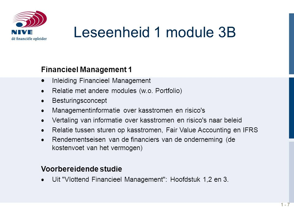 Leseenheid 1 module 3B Financieel Management 1