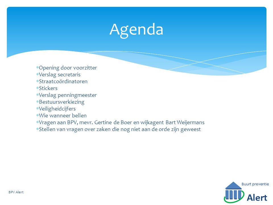 Agenda Opening door voorzitter Verslag secretaris Straatcoördinatoren