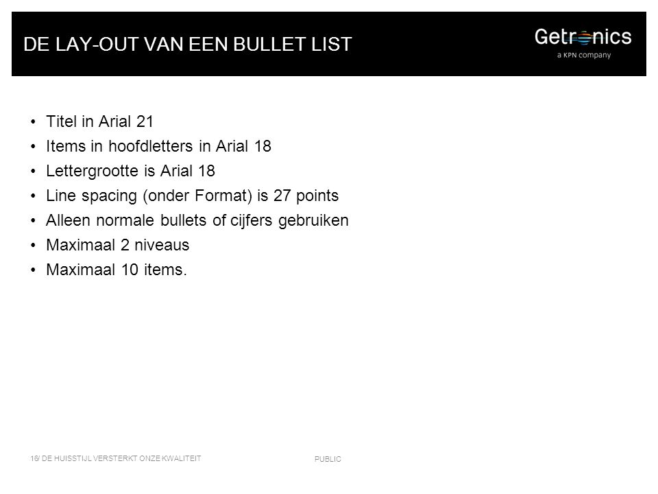 DE LAY-OUT VAN EEN BULLET LIST