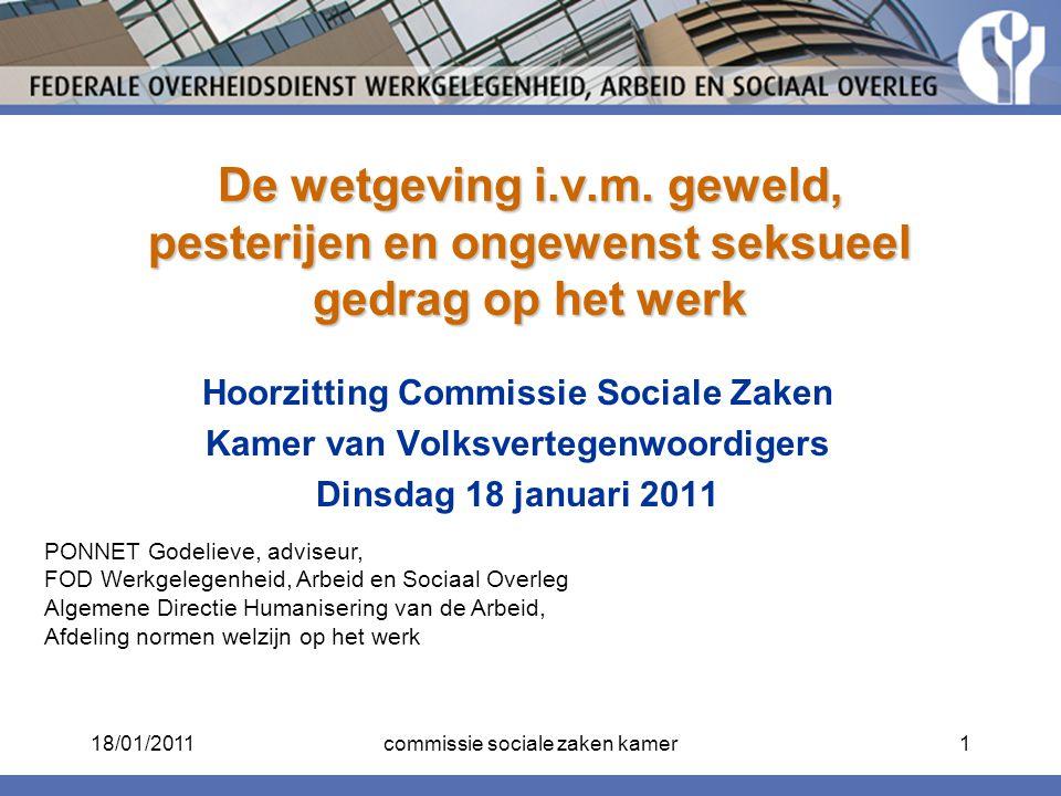 Hoorzitting Commissie Sociale Zaken Kamer van Volksvertegenwoordigers