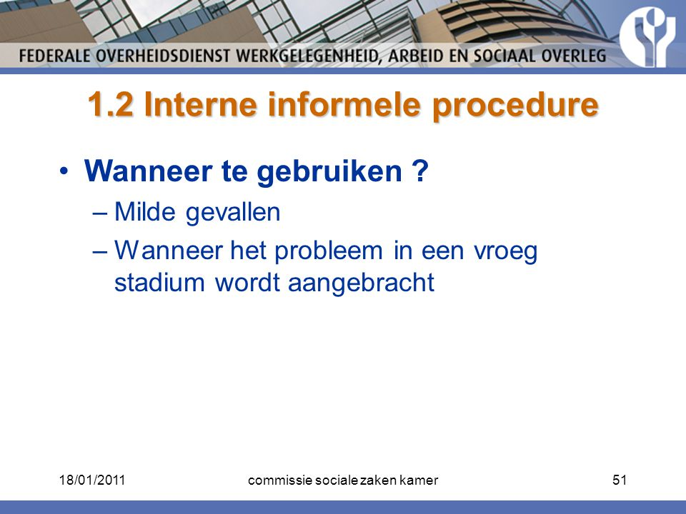 1.2 Interne informele procedure