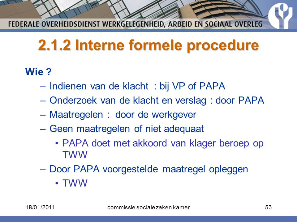 2.1.2 Interne formele procedure