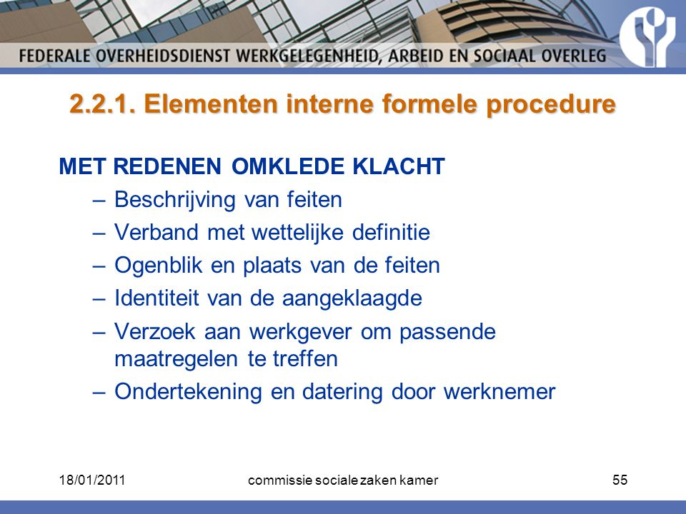 2.2.1. Elementen interne formele procedure