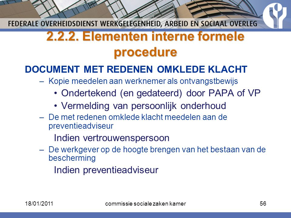 2.2.2. Elementen interne formele procedure