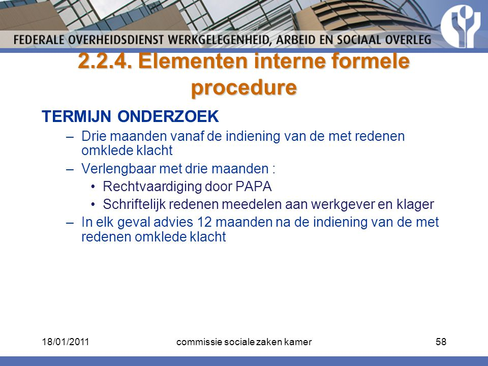 2.2.4. Elementen interne formele procedure