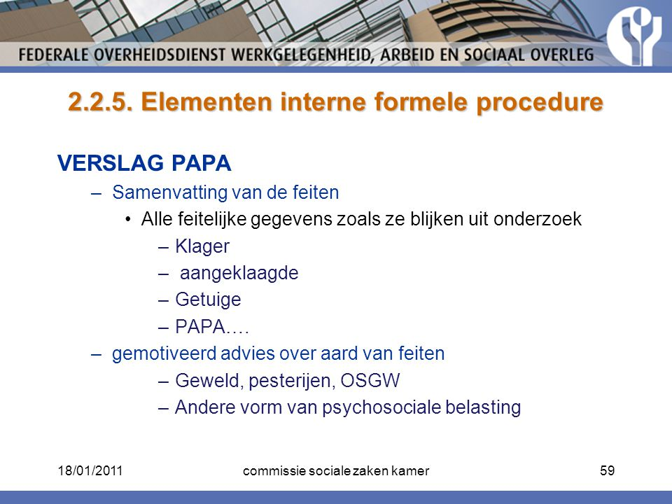 2.2.5. Elementen interne formele procedure