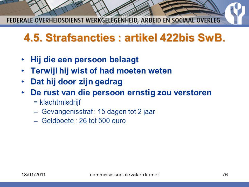 4.5. Strafsancties : artikel 422bis SwB.