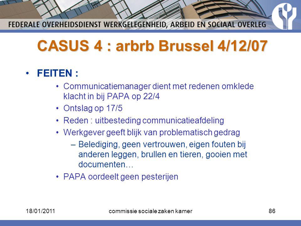 CASUS 4 : arbrb Brussel 4/12/07
