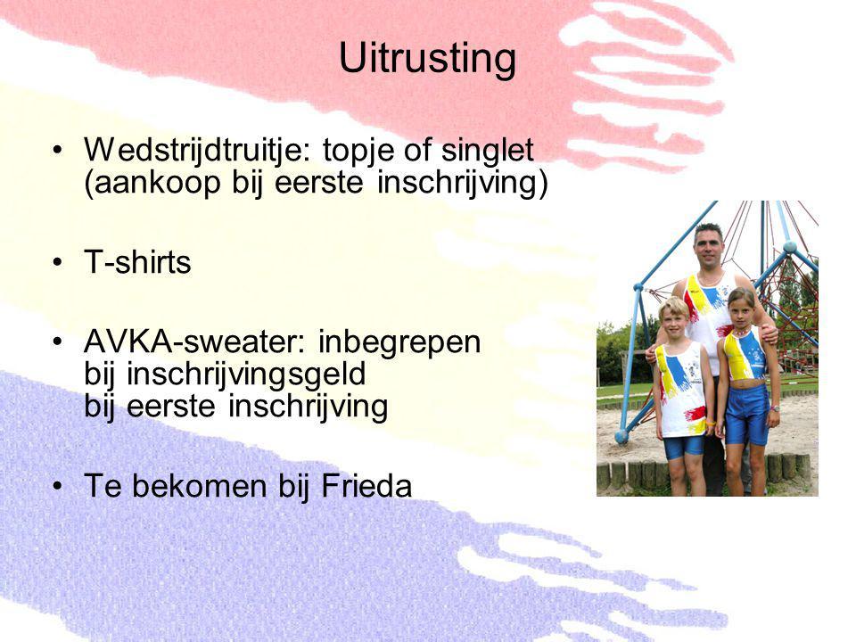 Uitrusting Wedstrijdtruitje: topje of singlet (aankoop bij eerste inschrijving) T-shirts.