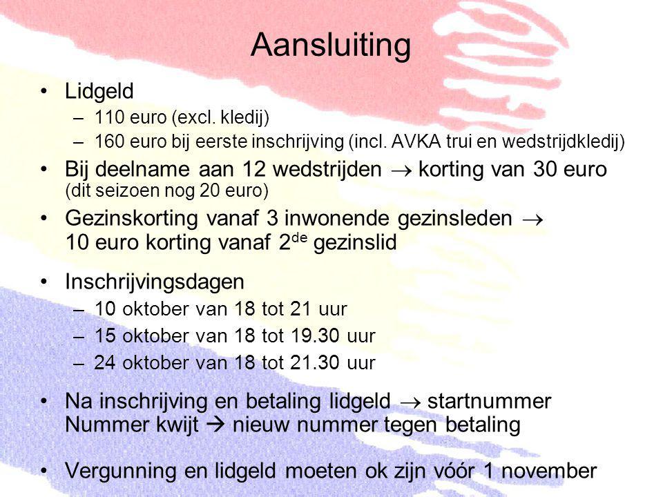 Aansluiting Lidgeld. 110 euro (excl. kledij) 160 euro bij eerste inschrijving (incl. AVKA trui en wedstrijdkledij)
