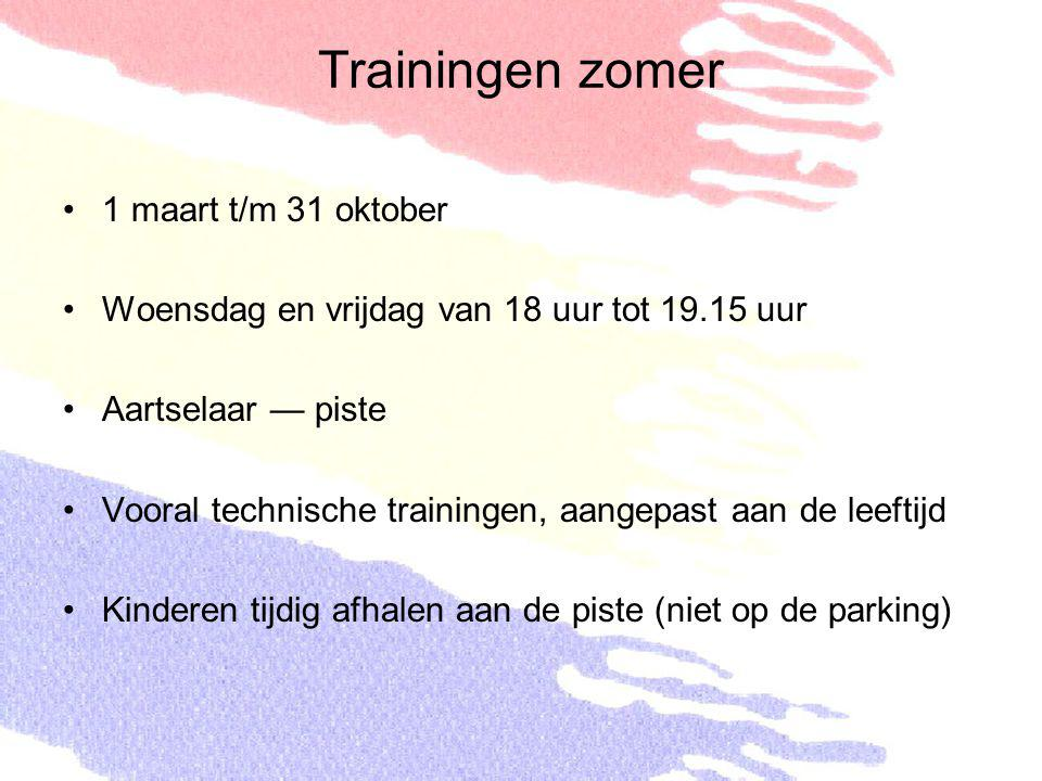 Trainingen zomer 1 maart t/m 31 oktober