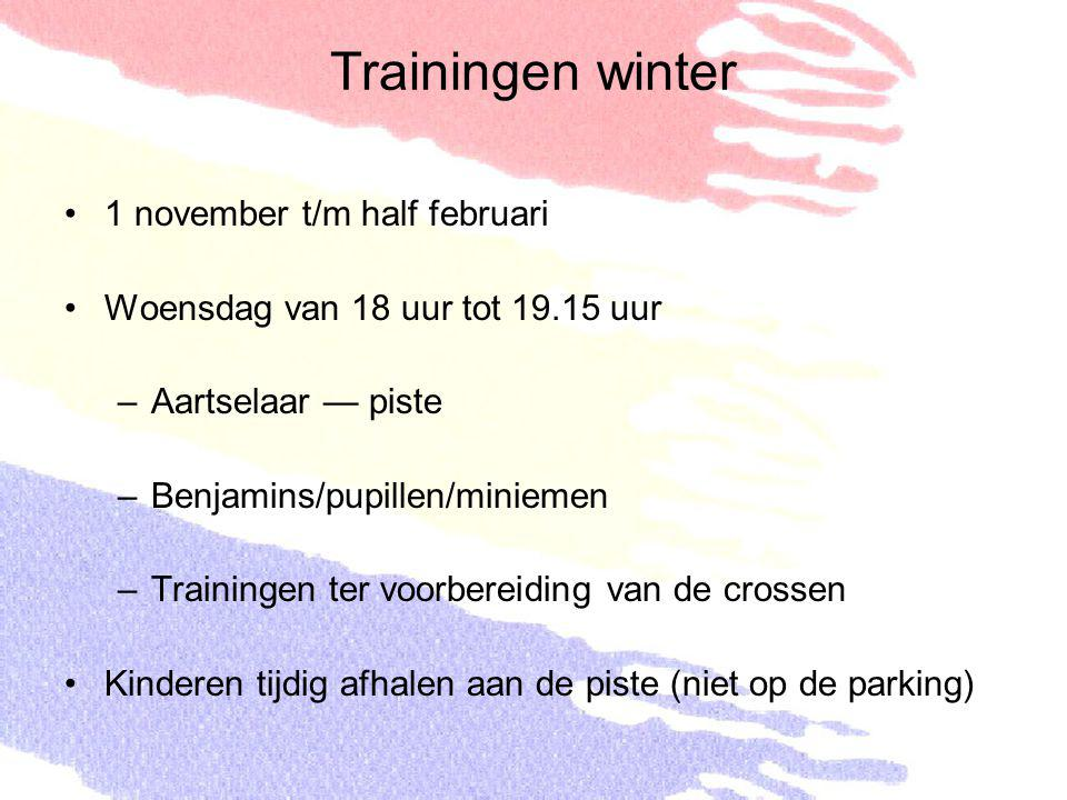 Trainingen winter 1 november t/m half februari