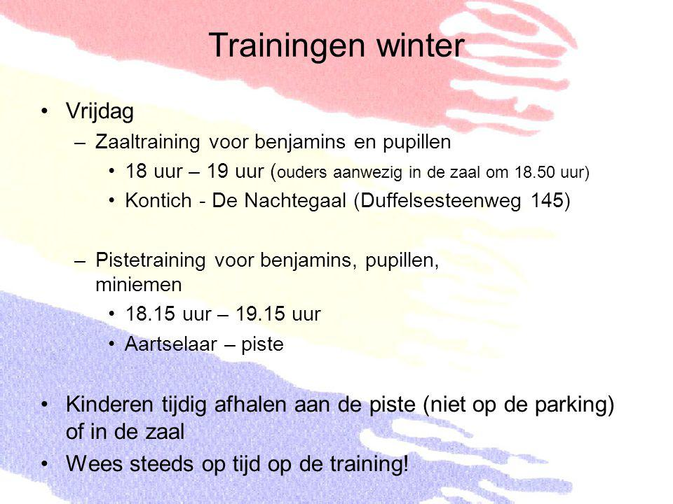 Trainingen winter Vrijdag