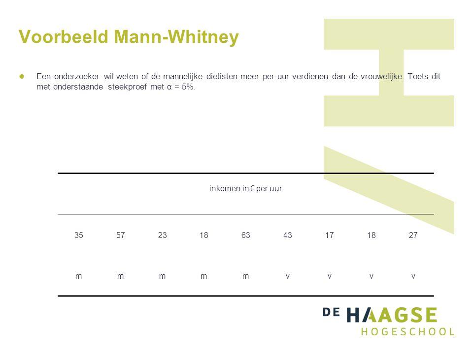 Voorbeeld Mann-Whitney